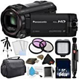 Panasonic HC-W850 Twin Camera Full HD Camcorder Bundle with Carrying Case + 32GB Memory Card + Tripod + More (Tamaño: Gold Level Bundle w/ 1 Year Extended Warranty)