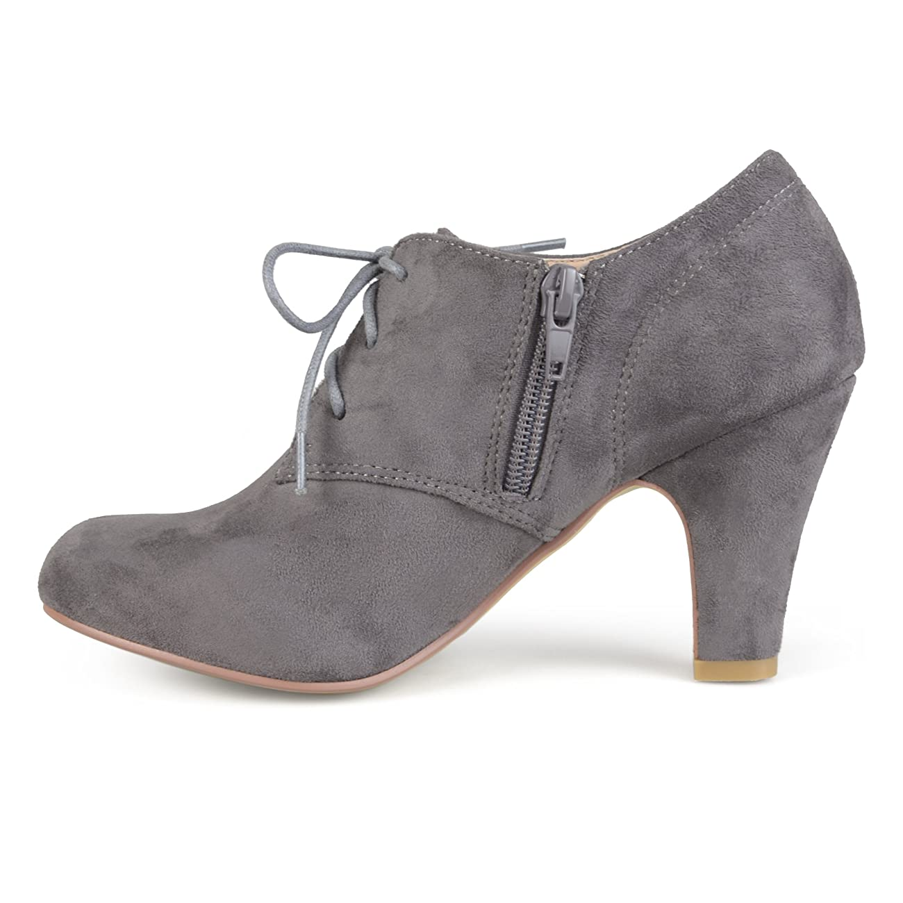 Brinley Co. Womens Vintage Round Toe High Heel Lace-up Faux Suede Booties 2