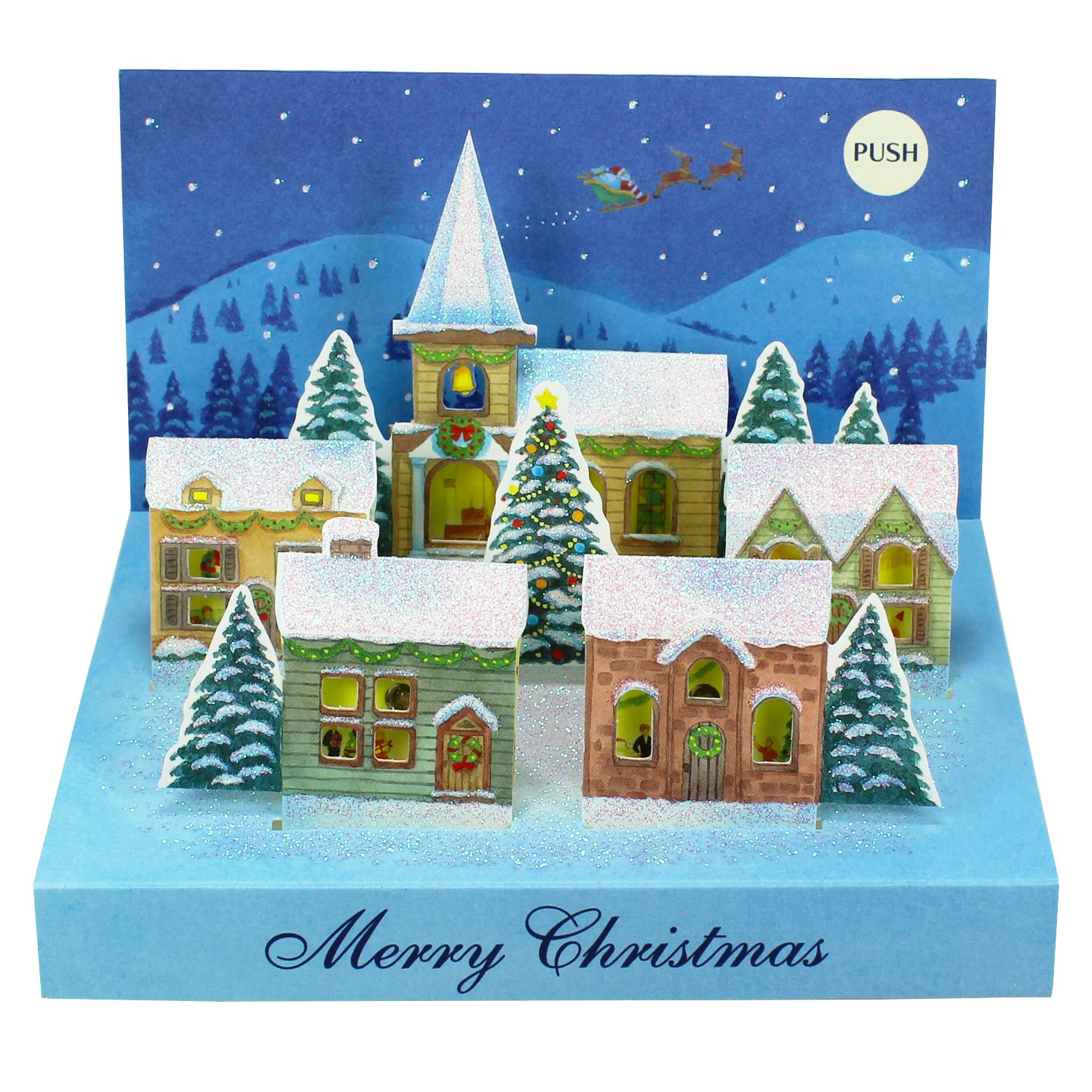 Christmas Village Lights Melodies Pop Up Greeting Card