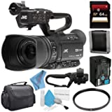 JVC GY-HM250 GY-HM250U UHD 4K Streaming Camcorder + 64GB SDXC Card + 62mm UV Filter + Memory Card Wallet + Carrying Case + Deluxe Cleaning Kit + Fibercloth Bundle (Color: Base, Tamaño: GY-HM250)