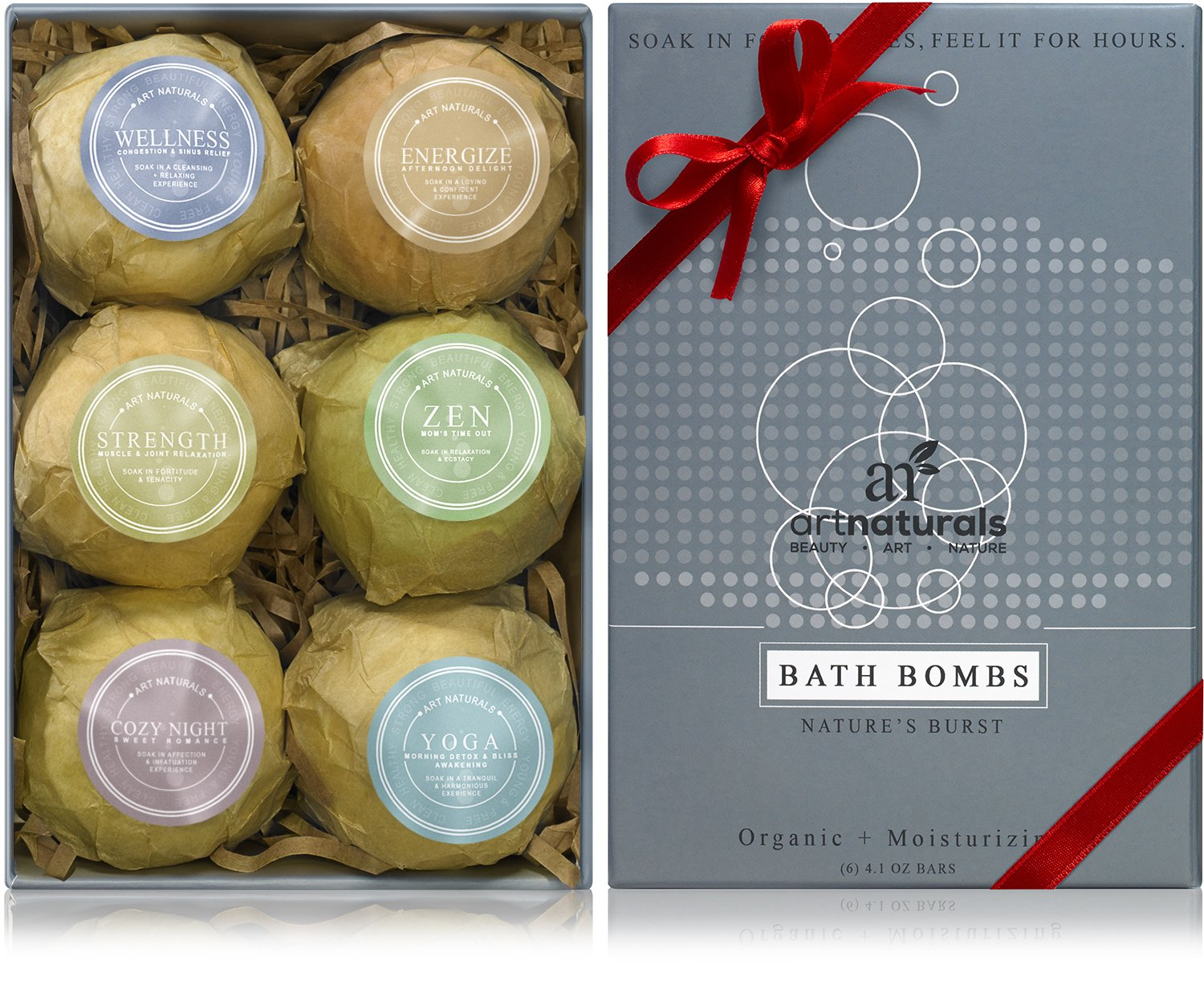 Art Naturals Bath Bombs Mothers Day Gift Set - 6 Ultra Lush Essential Oil Handmade Spa Bomb Fizzies - Organic & Natural Ingredients & Shea Butter for Moisturizing Dry Skin - Relaxation In a Box