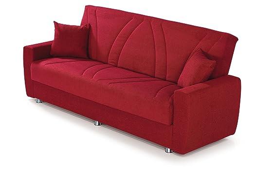 """Sofá cama 3 asientos """"Ashley"""" con recipiente de almacenamiento listo para la entrega 222 x 90 x 90 - Made in Italy"""