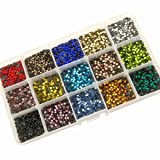 Summer-Ray SS10 2.8mm Assorted Colors Hot Fix Rhinestones In Storage Box (Color: Multi, Tamaño: SS10)