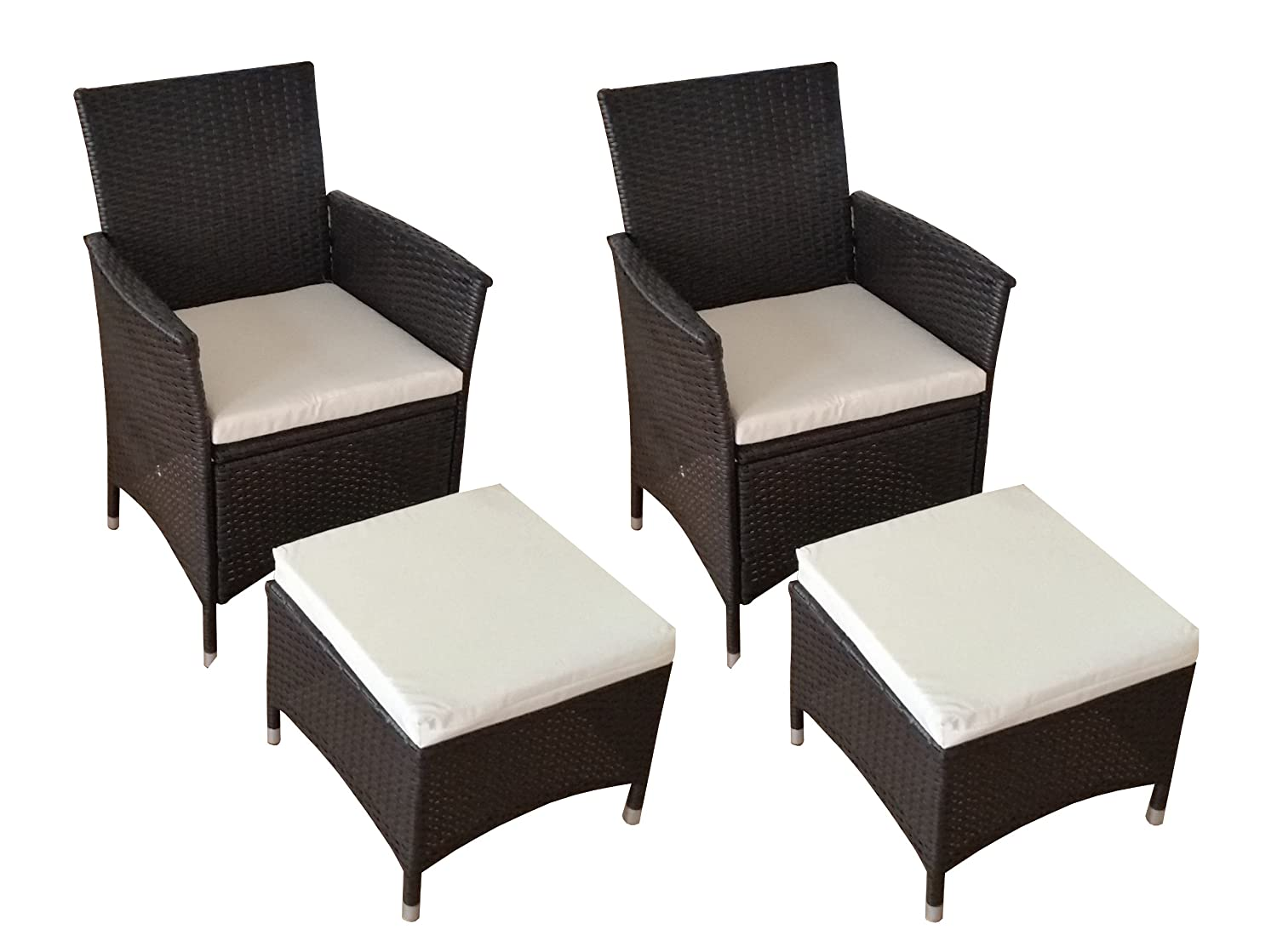 poly rattan 2er set stuhl und 2er set hocker braun online bestellen. Black Bedroom Furniture Sets. Home Design Ideas
