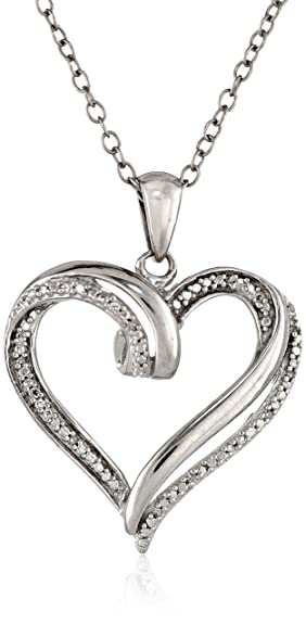 """Sterling Silver Diamond-Accent Heart Pendant Necklace, 18"""""""