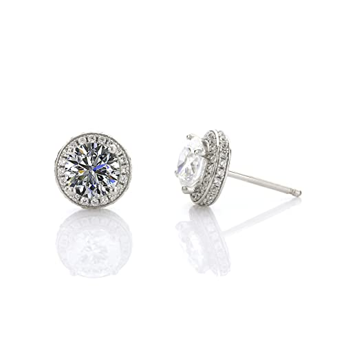 14karat-Sterling-Silver-Halo-Stud-Earrings-1Carat-Center-6-5mm-Radius-with-44-1mm-stones-All-Stones-are-Swarovski-Pure-Brilliance-CZ-Post-is-Solid-14Karat-Gold-All-Platinum-Plated-