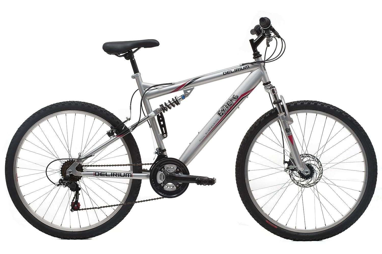 Bicicleta de montaña doble suspensión color plata. Tamaño L-XL