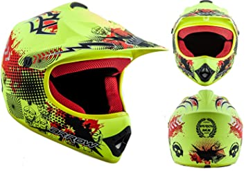 ARROW AKC-49 Limited yellow - ARROW AKC-49 Limited green - casque motocross KIDS moto enduro pour enfants jaune - - XS