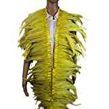 7 Color 2 Yard Long,10-12 inch Height Rooster Coque Feather Fringe Trim, for Skirt Dress Costume Roster Feather Trim (Yellow) (Color: Yellow, Tamaño: 10-12 INCH, 2 YARD LONG)