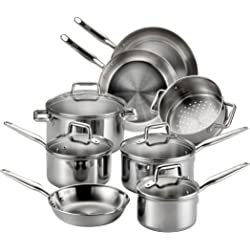 T-fal E469SC 12-Piece Tri-Ply Stainless Steel Multiple Layer Cookware Set - Silver