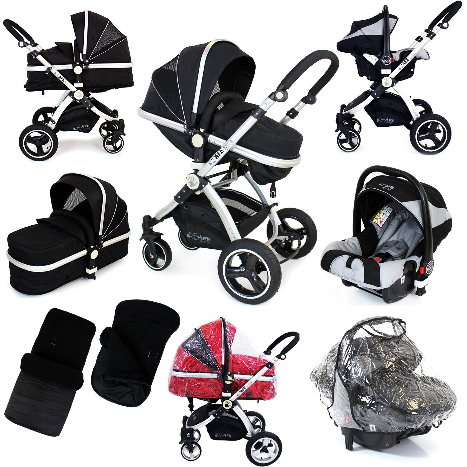 i-Safe System - Black Grey Travel System Pram & Luxury Stroller 3 in 1 Complete