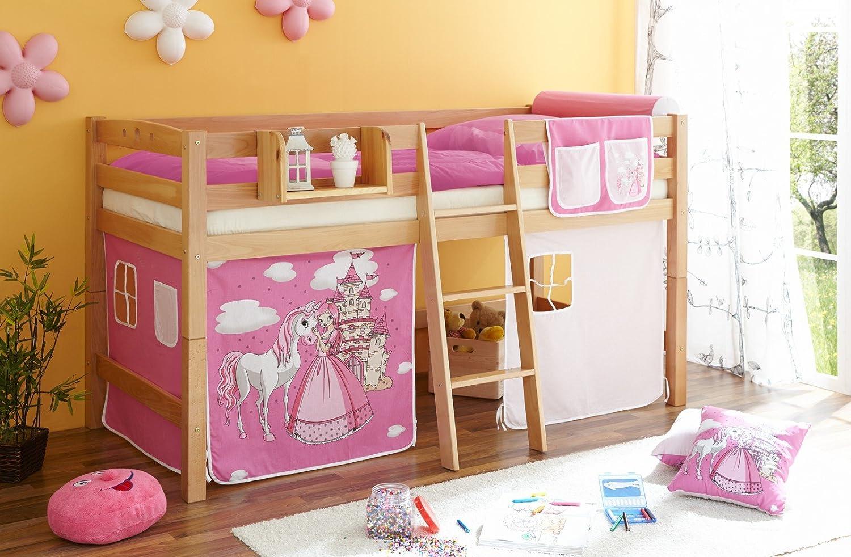 Hochbett Tipsi Buche massiv Natur Horse (pink)