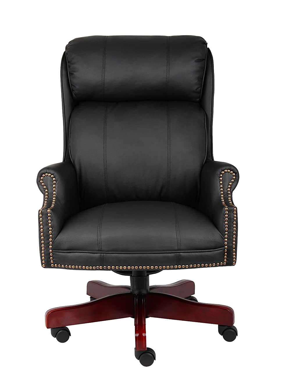 Boss Office Products B980-CP Traditional High Back CaressoftPlus Chair with Mahogany Base in Black 2