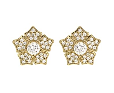 Myia Passiello Women's Yellow Gold Plated 925 Sterling Silver Iconic Snow Flake Stud Earrings