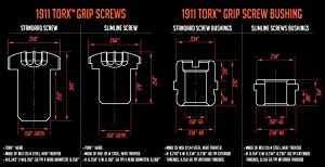 Strike Industries 1911 Torx Grip Screws With Stainless Steel x 4 (Color: Stainless Steel)