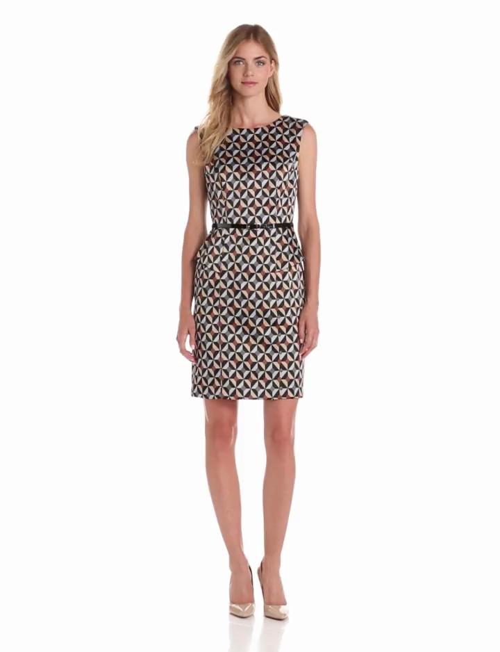 AGB Women's Cap Sleeve Print Peplum Dress