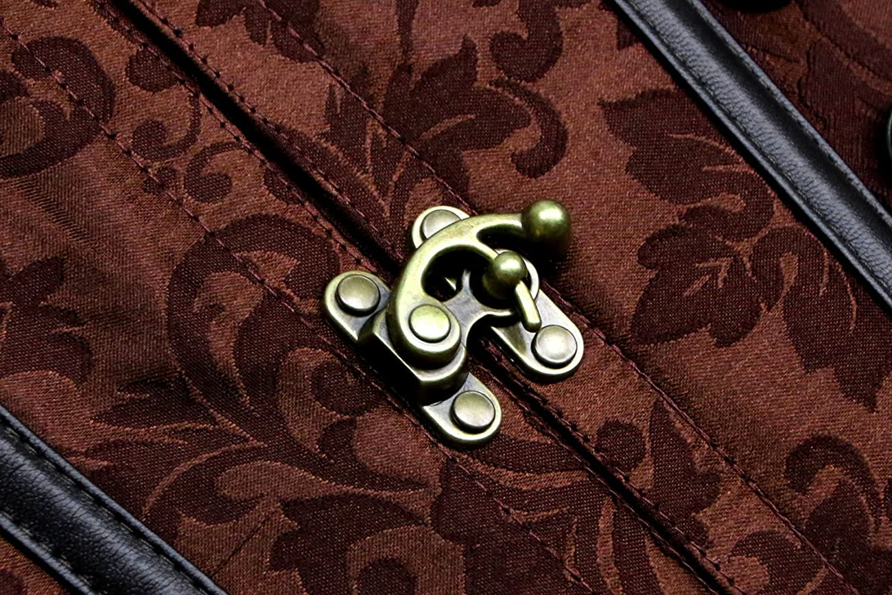 Charmian Women's Steampunk Vintage Spiral Steel Boned Brocade Bustier Corset Top 5