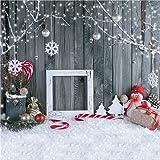 Kate 10x10ft Christmas Photography Backdrops Gray Wood Wall Background Cute Snowman Snowflake Backdrop (Color: 4724, Tamaño: 10x10ft)