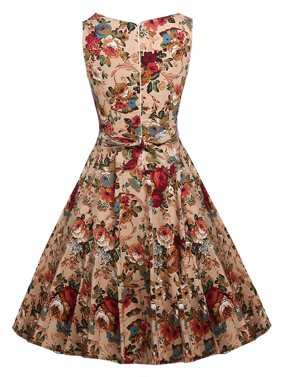 ARANEE Vintage Classy Floral Sleeveless Party Picnic Party Cocktail Dress 2