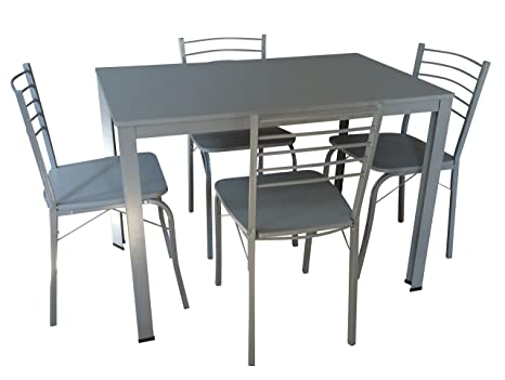 Essgruppe Coburg Esstisch Stuhl 4xStuhl 1xTisch Grau