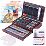 Deluxe Art Creativity Set- 2 x 50 Page Sketch Book,1 x 24 Page Watercolor Pad,Art Supplies in Portable Wooden Case with Crayons,Oil Pastels,Colored Pencils,Watercolor Cakes-Professional Art Kit (Tamaño: 162 PCS)