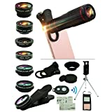 Cell Phone Camera Lens Kit,15 in 1 Universal 22x Zoom Telephoto,0.63Wide Angle+15X Macro+198°Fisheye+2X Telephoto+Kaleidoscope+CPL/Starlight/Eyemask/Tripod/Remote Shutter,For Iphone Smartphone (black) (Color: black)