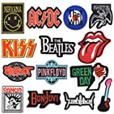 Riao-Tech 15pcs Rock Punk Band Patch Set Iron on Sew on Patches, Nirvana, Beatles, KISS, AC/DC, Green Day, Zepplin (Color: colorful)