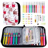 K Kwokker 48 Pieces Ergonomic Crochet Hooks Set with Cartoon Cat Case Grip Crochet Kit and Accessories for Beginners and Crocheters, Complete Accessories, Small Volume and Convenient to Carry, Pink (Tamaño: 48 Pieces)