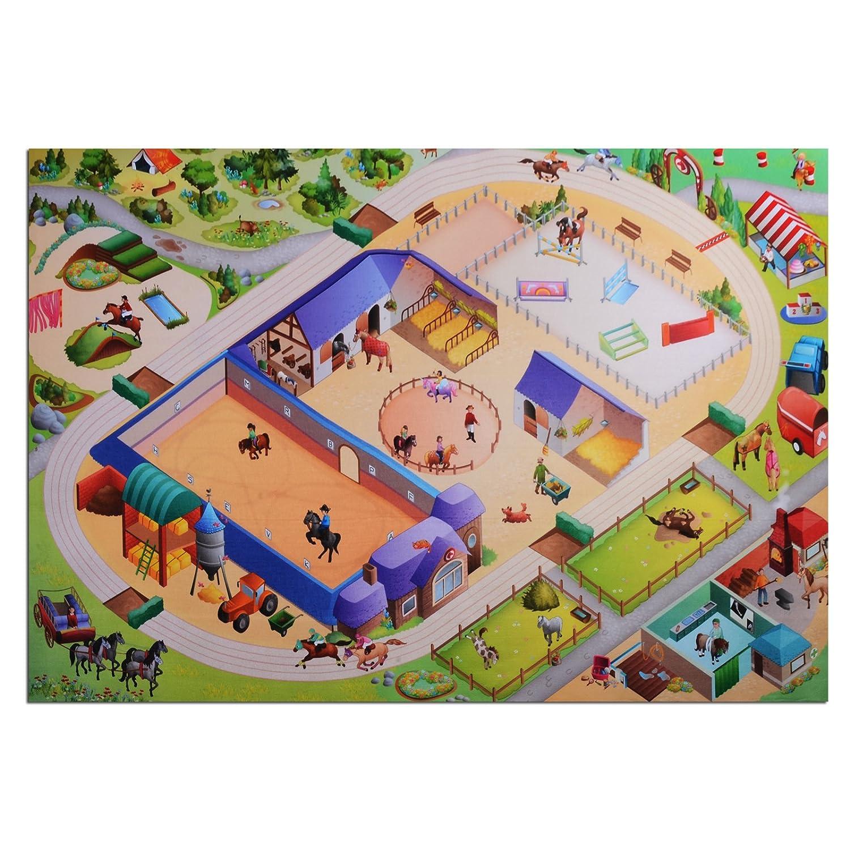 Waschbarer Kinderspielteppich in 3 Größen | phtalat-frei | Motiv Reiterhof | 80 x 120 cm bestellen