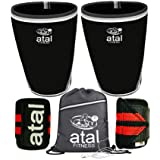 atal Fitness Knee Sleeves for Powerlifting, Weightlifting, Cross Training, Squats and Knee Support – 7mm Neoprene Knee Sleeves for Women and Men with Heavy Duty Wrist Wraps & Gym Bag (Color: Black, Tamaño: X-Large)