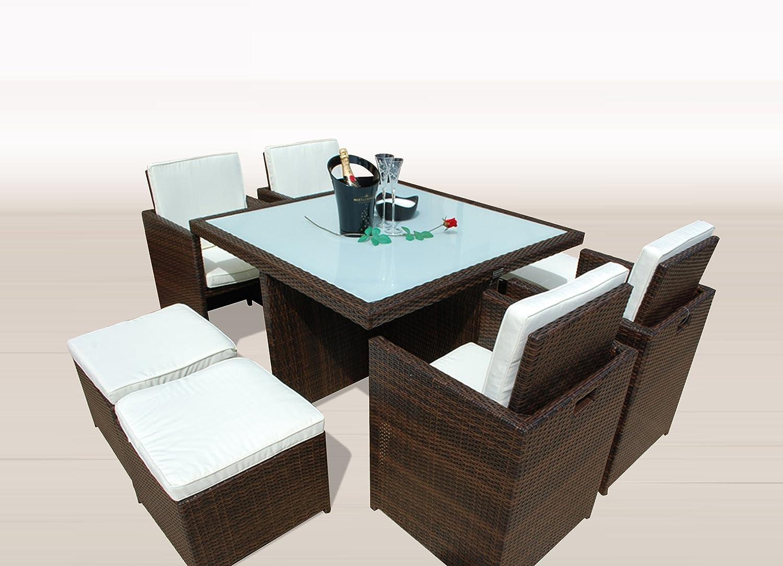 Gartenmöbel PolyRattan Essgruppe Tisch mit 4 x Stuhl & 4 Hocker DEUTSCHE MARKE — EIGNENE PRODUKTION Garten Möbel incl. Glas und Sitzkissen Ragnarök Möbeldesign braun Rattan günstig online kaufen