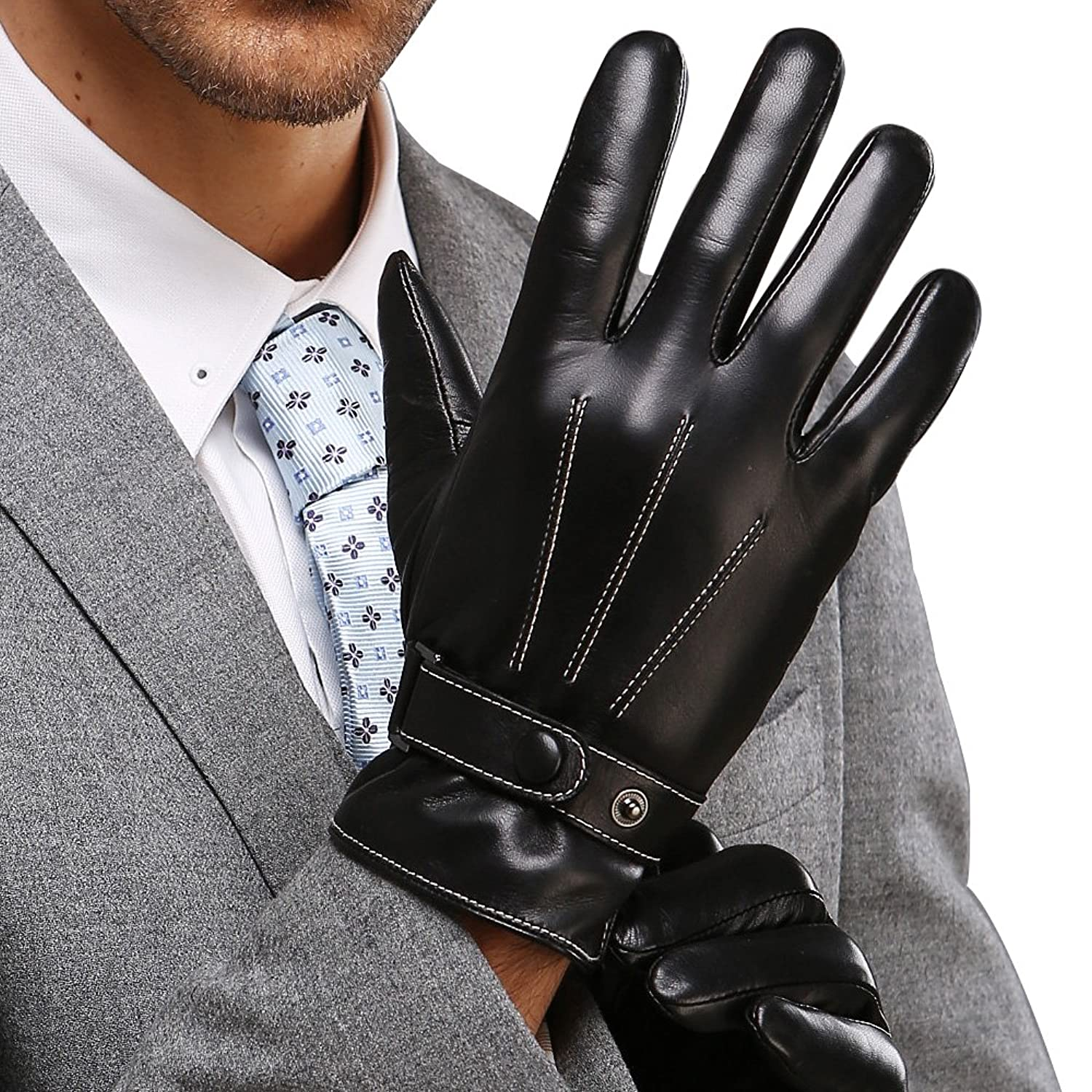 Mens leather gloves black friday - Best Winter Mens Leather Gloves Made Of Australia Lambskin Drive Work Motorcycle Riding Cycling Fleece Lining