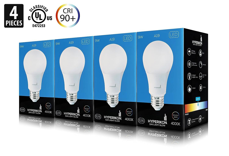 Hyperikon LED A19 Dimmable Bulb, 9.5-Watt (60-Watt Equivalent), 4000K (Daylight Glow), CRI90+, 800 Lumens, Medium Screw Base (E26), 340° Omnidirectional, UL - (Pack of 4)