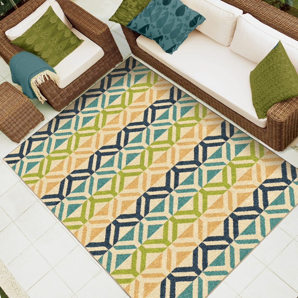 Lime Green Outdoor Area Rug: Indoor Outdoor Are Rug Carpet Tropical Palette Teal Lime