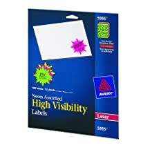 Avery 5995 Fluorescent burst laser labels, 2-1/4 diameter, 180/pack