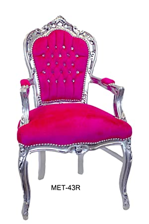 Fauteuil baroque argent fuchsia