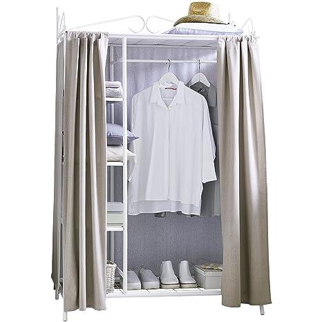 Armadio Breezy con struttura in metallo e rivestimento in cotone bianco taupe ca. 109 x 57 x 171 cm