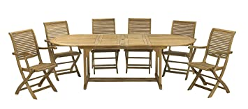 RoyalCraft FSC Hampton Oval Two Leaf Extension Table includes Hamilton Folding Armchairs