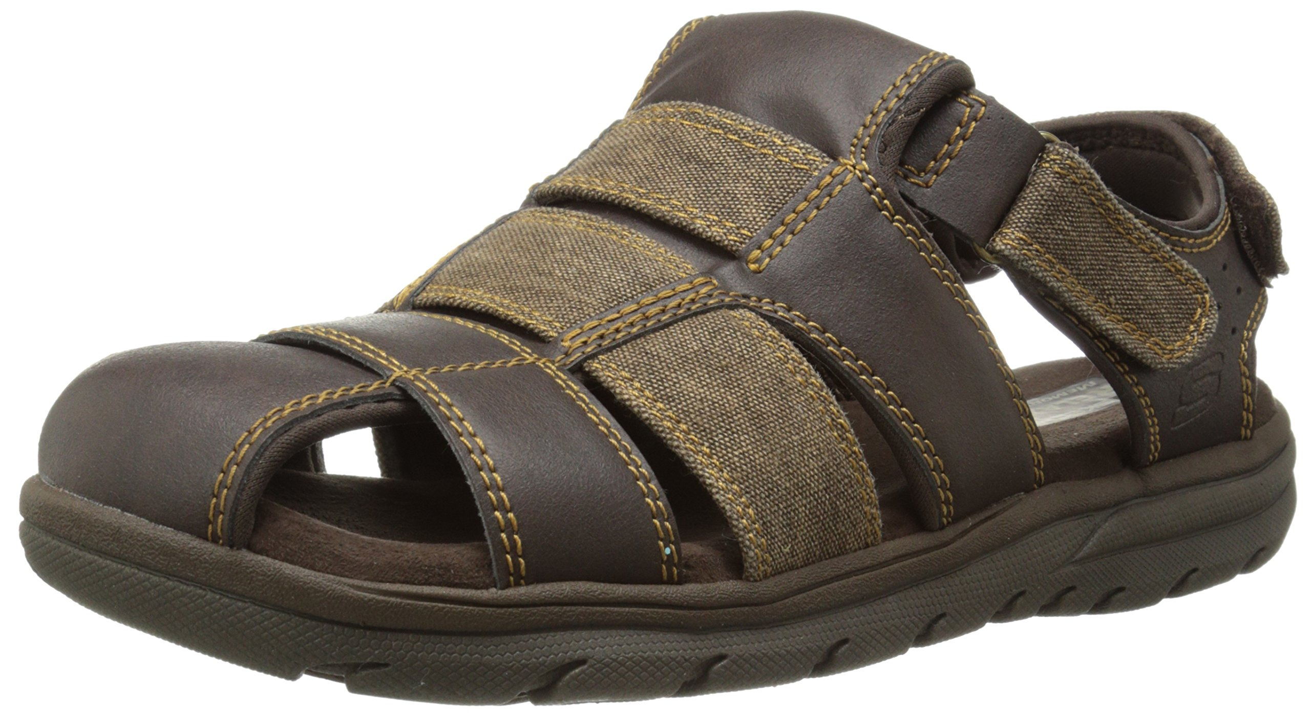 New men 39 s skechers relaxed fit supreme olvero fisherman for Mens fishing sandals