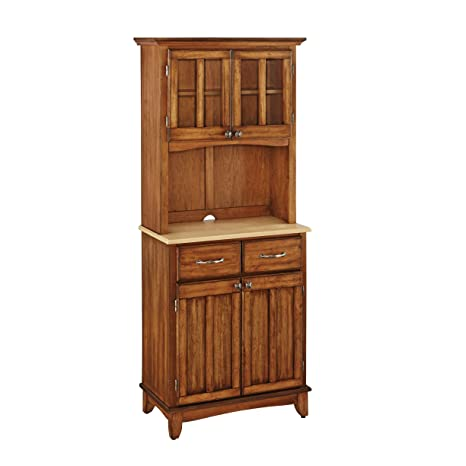 Home Styles 5001-0061-62 29-1/4-Inch 5001 Series Natural Wood Top Buffet and Hutch Storage, Cottage Oak