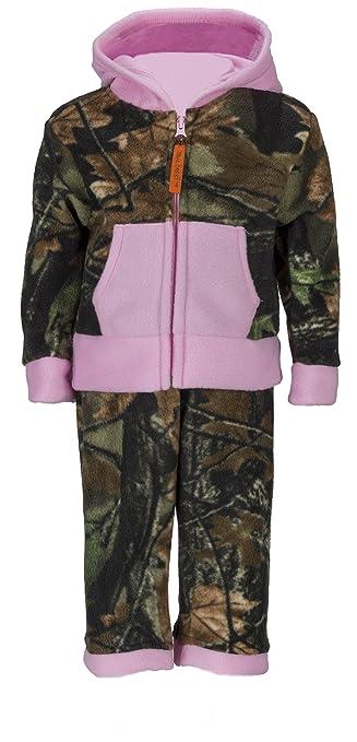 Infant Camo Two Piece Fleece Jacket & Pants Set, 6-12 Months, Pink