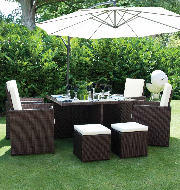 Arizona outdoor Gartenmöbel aus rattan, für 4 Personen, Hocker, Tisch, quadratisch online bestellen