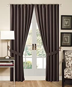 Solid Brown Back Tap Thermal Insulated Blackout Window Curtain 108