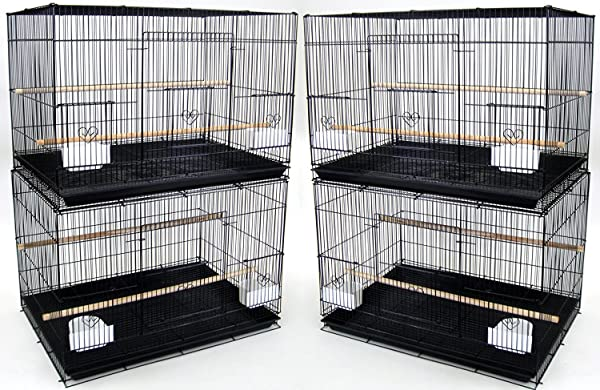 Mcage Lot of Breeding Bird Flight Cages for Canary Parakeet Aviaries Budgies Lovebird Finch (Large 30 Black) (Color: Large 30 Black, Tamaño: 24 x 16 x 16H)