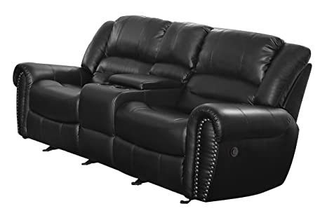 Homelegance 9668BLK-2PW Power Reclining  Bonded Leather Traditional Love Seat with Accentuated Nail Headed Arm Rest, Black