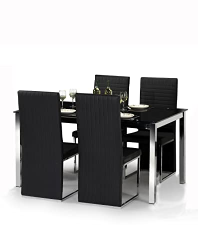 Tempo Dining Table Set - W160cm, black glass & chrome - 4 Faux Leather Chairs