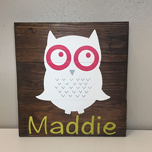 10x10 personalized owl name sign for nursery or kids room