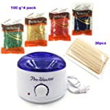 [2018 UPGRADED] Wax Warmer Electric with 4 Packs Hard Wax Beans and 30 Applicator Sticks Home Waxing Kit (blue) (Color: blue)