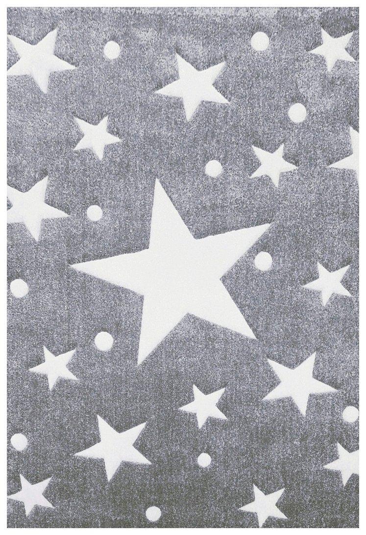 Kinderteppich Happy Rugs STARS silbergrau/wollweiss 120×180 cm online kaufen