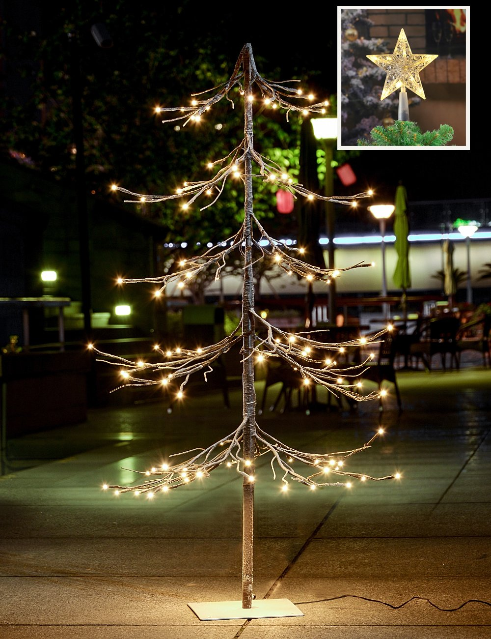 Lightshare NEW 4FT 112L LED Fir Snow Tree,+Free Gift:10L LED Star Treetop Decoration Light,Home/Festival/Party/Christmas,Indoor and Outdoor Use,Warm White